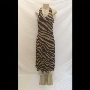 Lauren Ralph Lauren Sz L Tiger Print Halter Dress